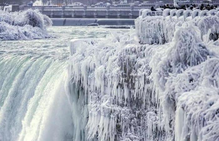 It's so cold, Niagara Falls is frozen