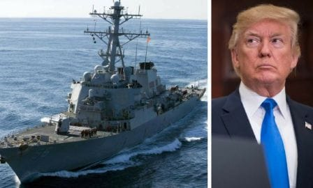 Defending a White House Official, Trump rejected any links to the decision of McCain warship