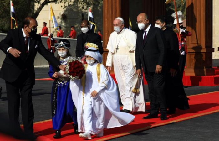 Pontiff 'happy' to land in Iraq on historic visit