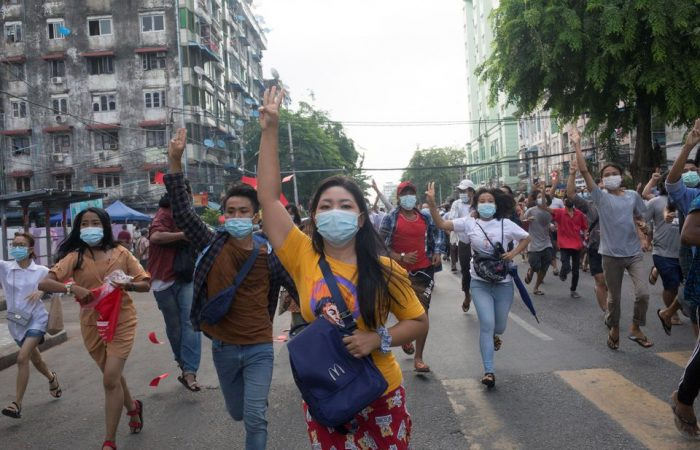 Hundreds of Myanmar activists hold flash mob protest again